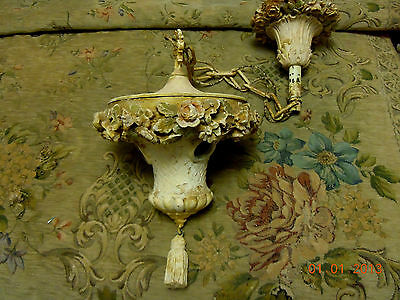 Rare! Antique French Barbola Hanging Light Fixture & Ceiling Medallion