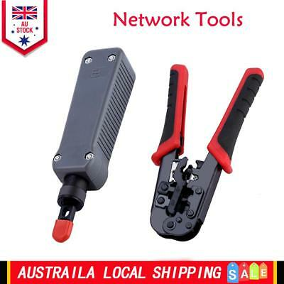 RJ45 RJ11 Cable Tester Crimping Crimper Stripper Network Punch down Impact Tool