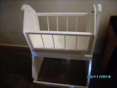 Used White Wooden Rocking Doll Bed / Cradle