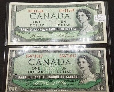 1954 Bank of Canada $1 Canadian Money - Devil's Face and corrected notes 1 ea