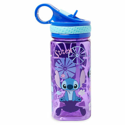 NEW Disney Store Lilo and Stitch Stitch Water Bottle Drink Cup with Straw 16oz