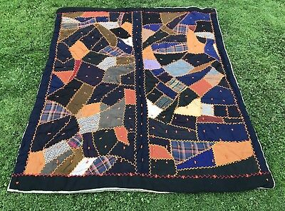 Antique Victorian Crazy Quilt Hand Tied Feather Stitched Wool HEAVY Lancaster Co
