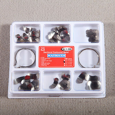 100Pcs Dental Matrix Sectional Contoured Metal Matrices Kit & 2 Ring Delta HNr