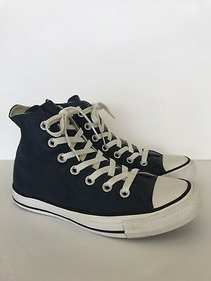 2c3ce13bc48e4a Leather Converse Unisex Chuck Taylor All Star High Top Dark Blue Men s 4