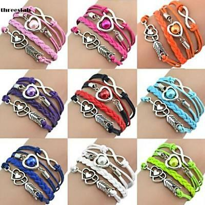 Fashion Leather Cute Infinity Charm Bracelet Jewelry Silver lots Style Seller