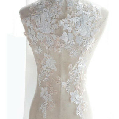 3D Embroidery Lace Applique White Wedding Bridal Dress Tulle Garment Accessories