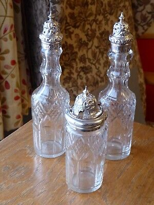Antique Victorian 2 peppers 1 mustard crystal cut glass and silver plate