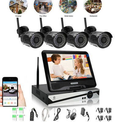 """HODELY Wireless 10"""" LCD Monitor 720P NVR 4x WIFI IR Home Security Camera System"""
