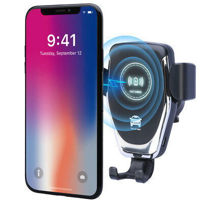 10W QI Wireless Fast Charger Car Mount Holder Stand For iPhone XS Max Samsung S9