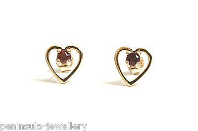 9ct Gold Garnet Heart Stud Earrings Made in UK Gift Boxed Studs