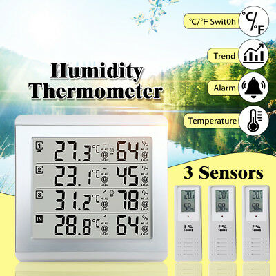 3 Sensors Wireless Digital Alarm Thermometer Freezer Temperature Indicator Home