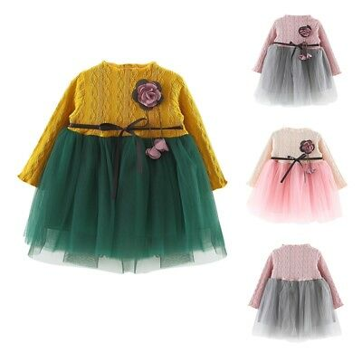 Baby Kids Girls Long Sleeve Princess Wedding Party Pageant Lace Tulle Tutu Dress