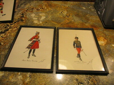 2 VINTAGE PRINTS Military Third Indian Cavalry Solider Scotland BRITISH ARMY VG