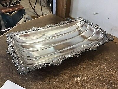 Crusader Old Sheffield Silver Plated Dish Tray Plate Footed Floral Pattern