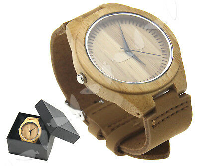 Nature Wood Bamboo Watch Leather Strap Wooden Men Women Wristwatch