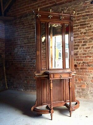 Antique Hall Stand Coat Stand Walnut Marble  French19th Century Circa 1890