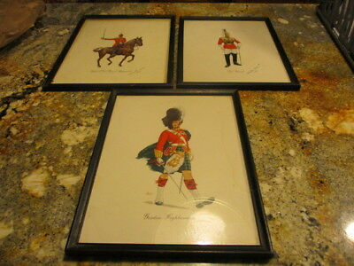3 VINTAGE PRINTS Military Third Indian Cavalry Solider Scotland BRITISH ARMY VG