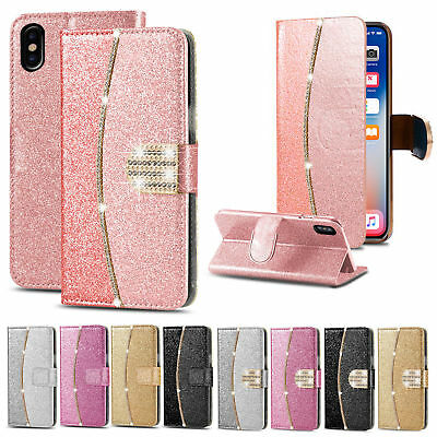 Leather Glitter Wallet Magnetic Flip Phone Case Cover For Samsung S8 S9 J6 A8 S7