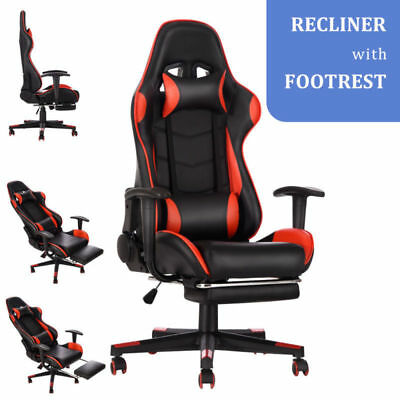 Leather Game Racing Chair Office Executive Recliner With Footrest Neck Pillow UK