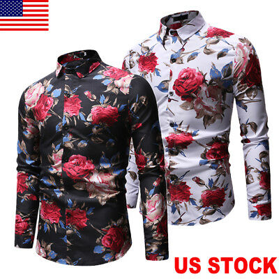 US New Mens Luxury Casual Stylish Slim Fit Long Sleeve Casual Dress Shirts Tops