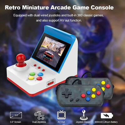 Mini Retro Classic Arcade AV TV Game Console 360 Built-in Games+ 2 Gamepads Gift