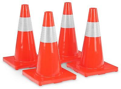 4x Traffic Cone Portable Safety Cones Football Posts Driving Support Signal Set