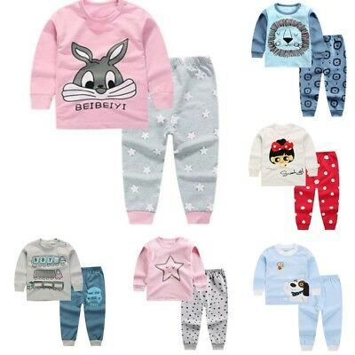 Boys Girls Kids Toddler Baby Pajamas Pjs Set Sleepwear Nightwear Clothes Outfits