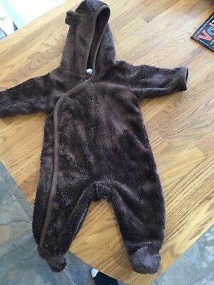 Baby Gap Brown Teddy Bear Pramsuit Warm Newborn Unisex Boy Girl