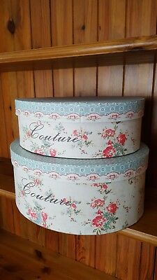 Set of Two Couture Vintage Floral Style Oval Hat Boxes With Lids: Brand New