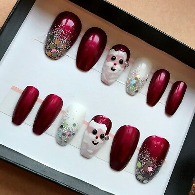 Hand Painted False Nails COFFIN Full Cover CHRISTMAS SANTA Glitter Red XMAS
