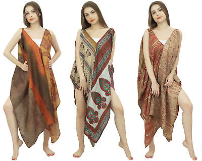 Vintage Lot Of 3 Pieces Spaghetti Strap Saree Beachwear Summer Kaftan-BDPSL3A