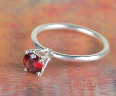 Faceted Garnet Ring 925 Sterling Silver Red Color Ring Prong Ring Gypsy Gift Her