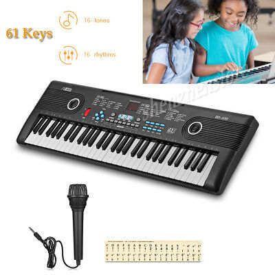 61 Key Electronic Piano Digital Keyboard Musical Instrument W/Cable+Microphone