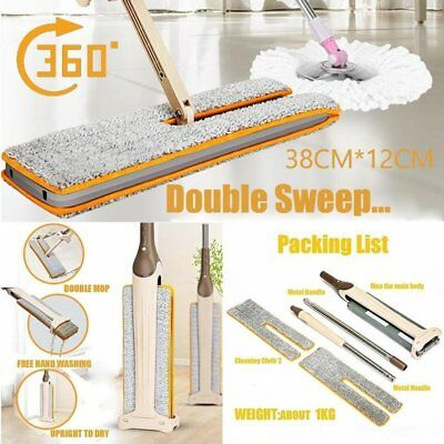 5721cfa86b2 Lazy Double Sided Mop And 360 Spin Automatic Squeeze 38cm Cloth Mop