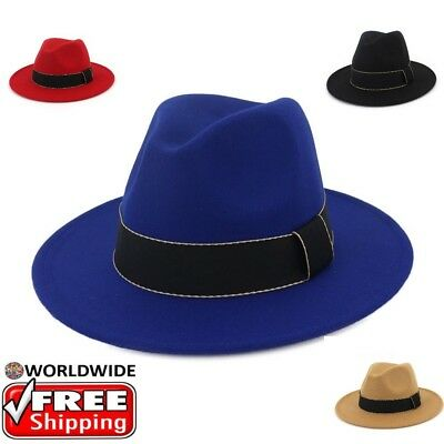 Wide Brim Felt Fedora Womens Hat Winter Hats For Curly Hair Autumn Trilby Hat