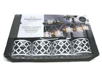 Threshold White Metal Ogee String Lights Indoor Outdoor Clear Bulb 7 Lights NEW