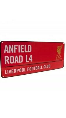 LIVERPOOL STREET SIGN CHAMPIONS EUROPE THE REDS ANFIELD RD L4 LFC WHITE PLAQUE