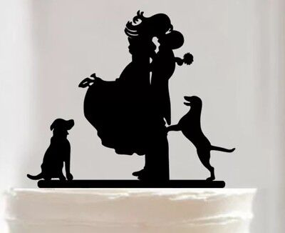 Silhouette Wedding Cake Topper-Bride/Groom/Dogs-Black Acrylic-Decoration-Sign