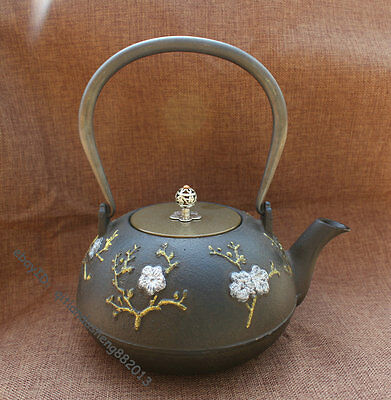 Archaic Japanese Silver plated gold plum bloss pot plate iron Flagon Kettle Tea