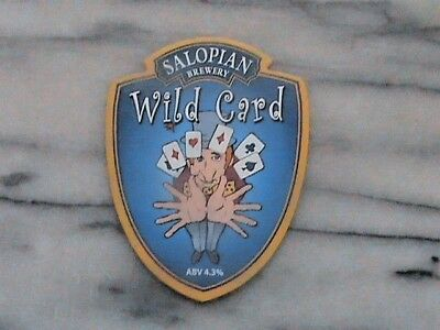 Salopian Wild Card real ale beer pump clip sign
