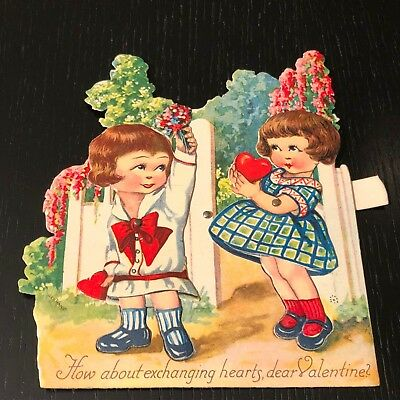 Vintage 1920s Moving Mechanical Valentines Day Card- 2 Girls exchanging Hearts