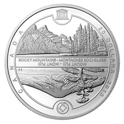 2015 Mount Fuji and Canadian Rockies-Unesco Prf $20 Silver Coin 1oz .9999