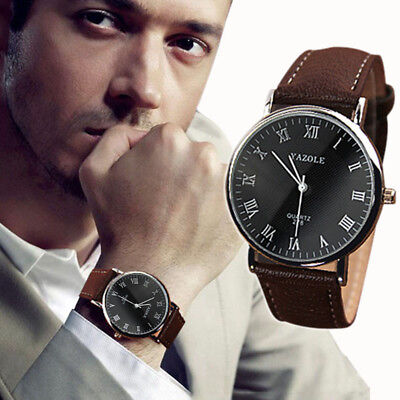 NEW Luxury Fashion Faux Leather Stainless steel Mens Quartz Analog Watch Watch B