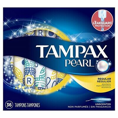 Tampax Pearl Plastic Tampons Regular Absorbency Unscented 36 Count (Pack Of 1)