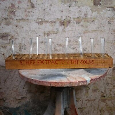 Vintage Props Laboratory Chemist Glass Test Tube Rack Decorative School Extract
