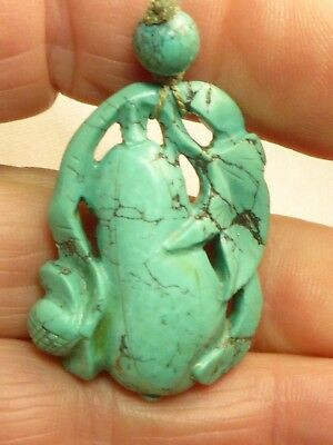 Antique Vintage Chinese Carved Turquoise Pendant For Necklace Untreated