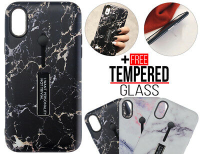 Pour iPhone 6 6S 8 7 Plus XS MAX XR Shockproof Marble Finger Holder Cover Cas