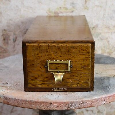 Antique Index Card Filing Drawer Advance Filing System Oak Recipe Cards Storage