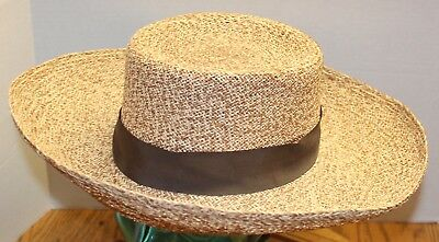 Nwt Vintage Makins New York Straw Hat Natural Yellow/brown Osfm Never Worn