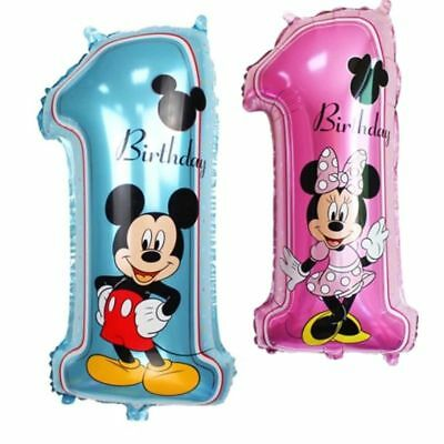 Mickey Mouse Balloon Happy Birthday 1 Number Party Decor Supplies Foil Balloon